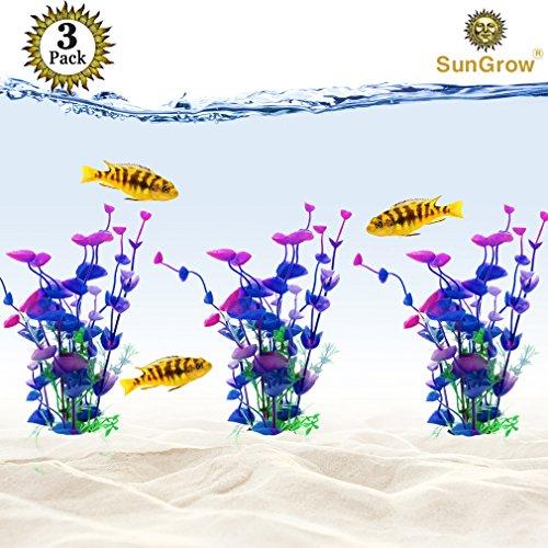 SunGrow 3 Artificial Aquarium Plants - Bright, Colorful Hues of Blue, Purple & Green - Low Maintenance, Lifelike Fish Tank Decoration - Safe & Entertaining for Betta, Goldfish, Tetra & Guppies