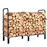 HOMFA Firewood Log Rack, 4-Foot Heavy Duty Outdoor / Indoor Fireside Wood Stacking Storage Holder for Fireplace Stove Metal Black