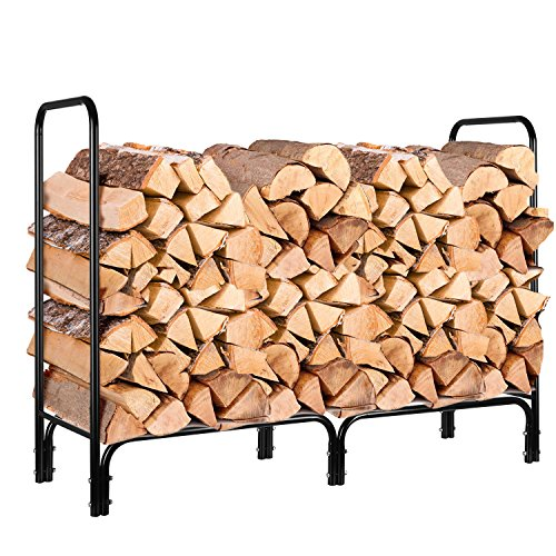 HOMFA Firewood Log Rack, 4-Foot Heavy Duty Outdoor / Indoor Fireside Wood Stacking Storage Holder for Fireplace Stove Metal Black (For Outdoors Wood)