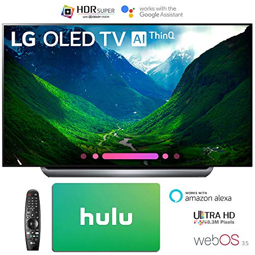 LG Electronics 4K Ultra HD Smart OLED TV 4K HDR AI Smart TV + Hulu $100 Gift Card (77″ OLED77C8)