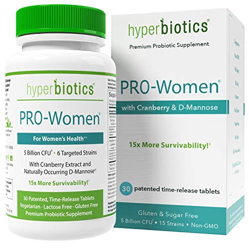 Hyperbiotics PRO-Women Probiotics 30 ct-Cranberry Extract, D-Mannose-15x More Survivability Than Capsules
