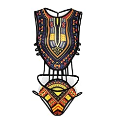 Women's African Tribal Print Bikini High Cut Monokini One Piece Swimsuit Backless Swimwear 51kUKBlORBL