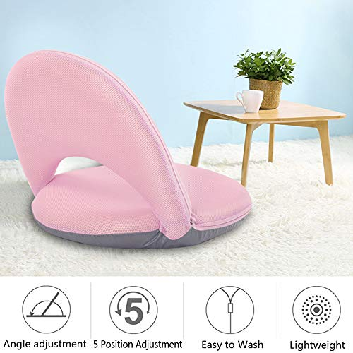 Floor Chair Floor Cushion Sofa Lounge Chair Game Chair Adjustable 5 Position Reclining Washable Cover Soft Foam with Firm Support for Kids Adult (Pink) ()