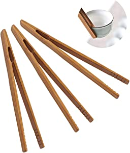 3Pcs Natural Eco-Friendly Bamboo Tongs Set Toaster Tongs Reusable Long Tweezers Clamp Non-slip Anti-scalding Tool Kitchen Accessories for Kitchen Home Restaurant Tea Ceremony (17.5cm/6.89