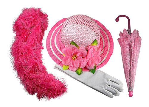 Girls Tea Party Dress Up Hat with Pink Boa Parasol and White Gloves by Butterfly Twinkles - Light (Umbrella Girl Costume)