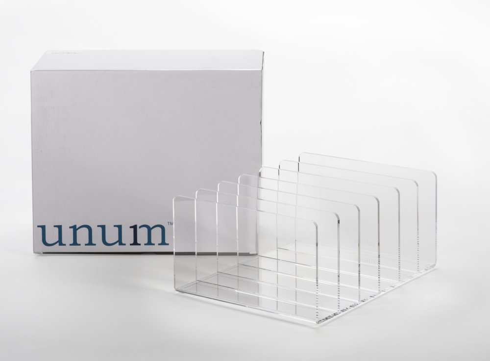 Unum Clear Acrylic Desktop File Organizer, 13-Inch x 10.5-Inch x 6-Inch by Unum