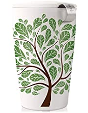 Tea Forte KATI Single Cup Loose Leaf Tea Brewing System, Insulated Ceramic Cup with Improved Tea Infuser and Lid, Green Leaves