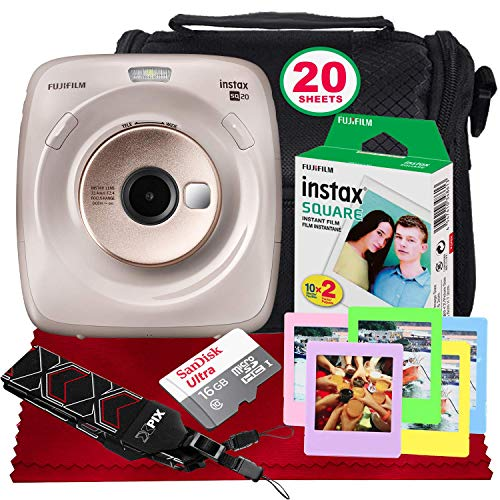 FUJIFILM Instax Square SQ20 Hybrid Instant Camera (Beige) - Basic Accessory Bundle with 20 Sheets of Instant Film + 16GB Micro sd Card + Case + Xpix Camera Strap and More. (USA Warrantty) ()