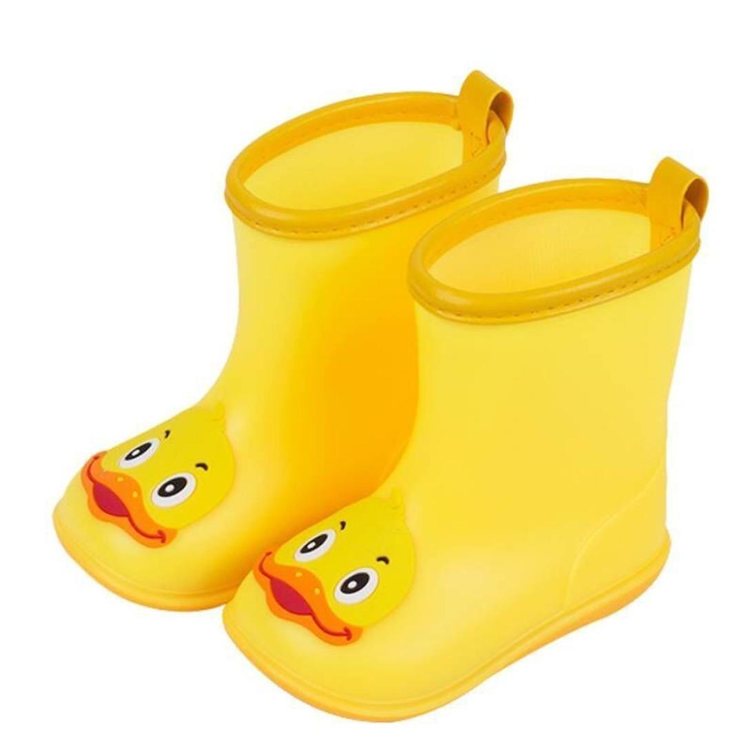 UMFun Infant Kids Rain Shoes Children Baby Cartoon Duck Rubber Waterproof Warm Boots Rain Shoes (US:10.5)