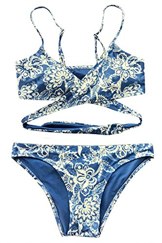 CUPSHE Women's Floral Front Cross Padding Bikini Set Beach Swimwear Medium Blue ()