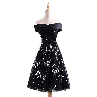 Chugu Women s Short Prom Party Dress Off Shoulder A Line Homecoming Dresses  Juniors C44 Black 2 fde12c34f7b3
