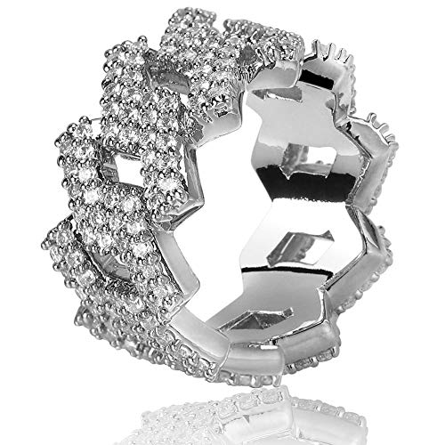 TOPGRILLZ Hip Hop 14mm Iced Out Lab Diamond Bling Miami Curb Link Engagement Ring for Men (White Gold, 11) ()