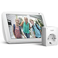 Echo Show 8, Tela de color gris claro + Tapo P100 Enchufe inteligente, compatible con Alexa