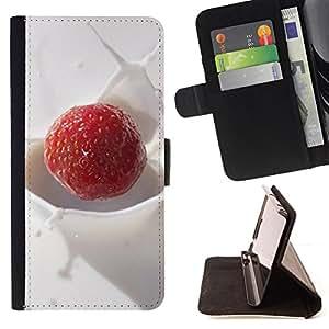 BullDog Case - FOR/Samsung Galaxy S3 III I9300 / - / Fruit Macro Creamy Raspberry /- Monedero de cuero de la PU Llevar cubierta de la caja con el ID Credit Card Slots Flip funda de cuer