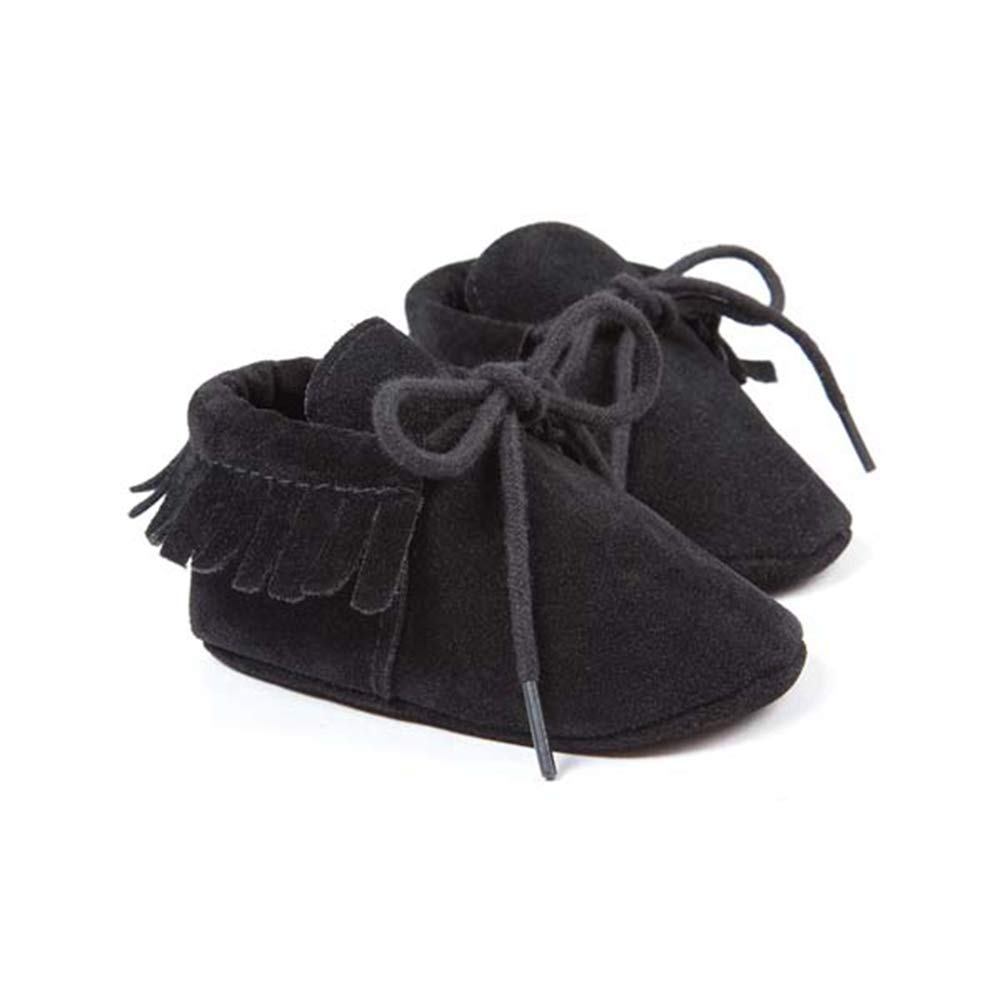 Berthodo Pu Suede Leather Newborn Baby Boy Girl Moccasins Soft Shoes Fringe Soft Soled Non-Slip Crib First Walkers