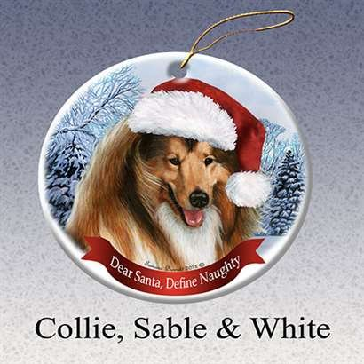 - Collie Dog Santa Hat Christmas Ornament Porcelain China U.s.a. Gift