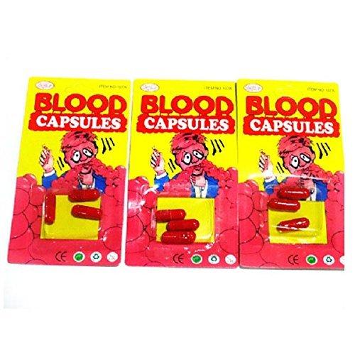 LUQUAN 30Pcs/Lot Halloween Make Up Costumes Prop Blood Pill Capsules Fake Trick Prank Practical Jokes Gag Gift Vampire Bleeding Mouth