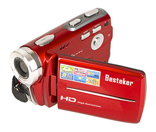 Camcorders, Besteker Portable Digital Video Camcorder HD Max 20.0 MP 1280*720P Camera DV 3.0 Inches TFT LCD Screen 16X Zoom and Microspur Video Recorder(109-Red) (Digital Movie Camera)