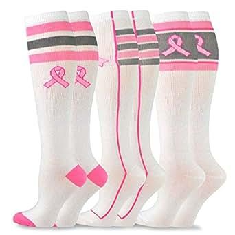 TeeHee Breast Cancer Awareness Cotton Knee High Socks for Women 3-Pack (Basic) 9-11