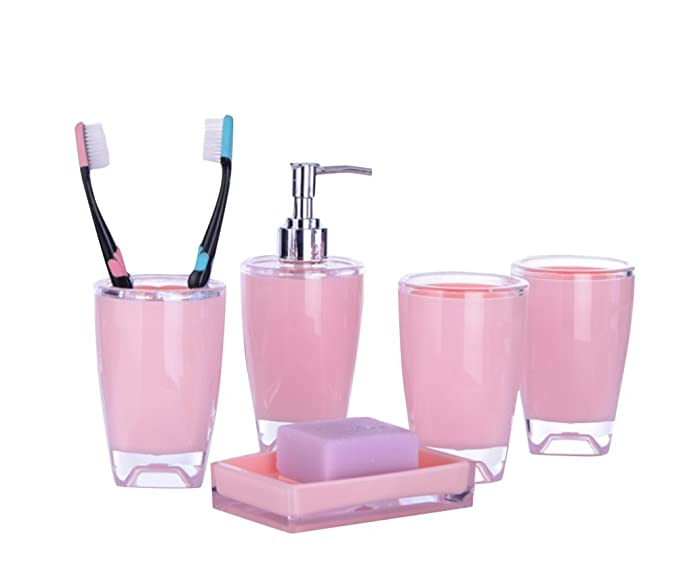 Bellabrunnen Salle de bains Essentials 5 Accessoires Set , Tumbler, savon à  vaisselle, distributeur de savon, toilettes Brush \u0026 Holder Rose Amazon.fr