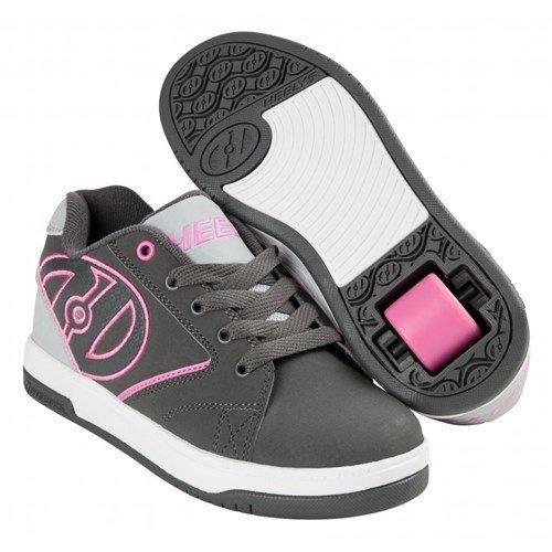 Zapatillas De Skate Heelys Propel 2.0 (niño Pequeño / Big Kid) Carbón / Gris / Rosa