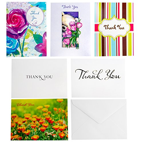 Designer Greeting 60ct Thank You Cards & Envelopes Assorted All Occassion Thank You Notes Blank Cards Bulk Lot (Occassion Note Cards)