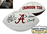 "AJ McCarron Autographed/Signed Alabama Crimson Tide Embroidered NCAA Logo Football with ""3x National Champ"" Inscription"""
