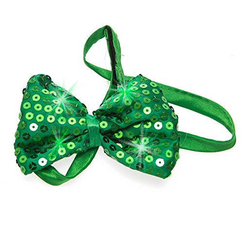 [Jacobson Hat Company Men's Sequin Lightup Bow Tie, Green, One Size] (Paddys Day Costumes)