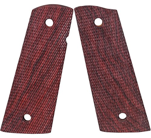 1911 Grips, Full Size Red Cocobolo Mag-well Full Checkered, Ambi Cut (Fusion 1911 Parts)