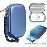 Blue Protective Case for HP Sprocket Portable Photo Printer, Polaroid ZIP Mobile Printer, Lifeprint Photo AND Video Printer, Mesh Pocket for Photo Paper and Cable, Compact size Fashion Design