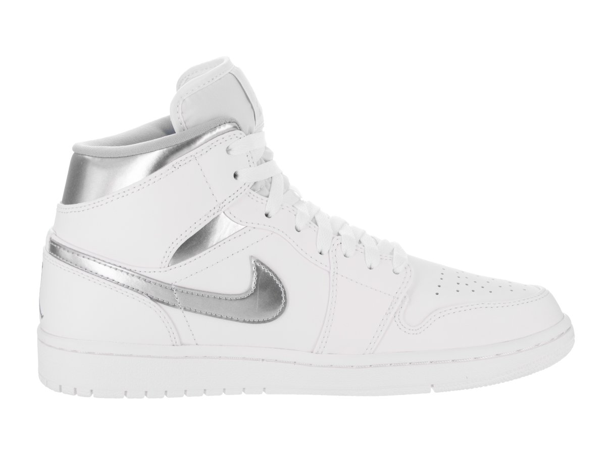 d00b976f229b90 Amazon.com  Jordan Nike Men s Air 1 Mid White Metallic Silver White  Basketball Shoe 7 Men US  Jordan  Sports   Outdoors