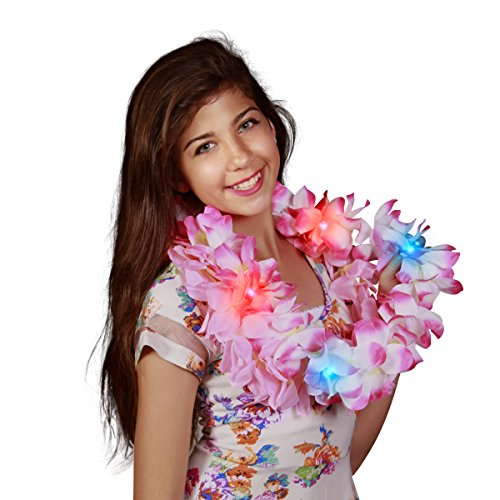 Large Assorted Light Up Hawaiian Leis with Flashing LED Lights (Set of 48)