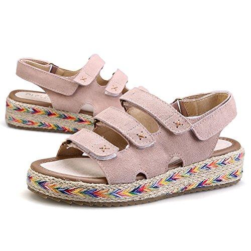 Platform Women's Flat fereshte Strap Sandals Espadrilles Suede apricot Flatform tBRwqdwzx