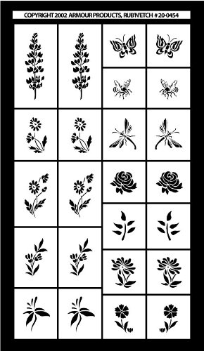 Armour Etch Stencil Rub N Etch Stencil, Mini Flowers, 5-Inch by 8-Inch Armour Products 20-0454