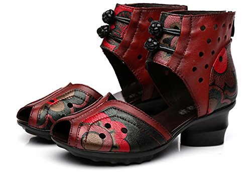 Peep HETAO Strappy Toes Black Cortex Red Gift Ladies Flower Girl's Sandals Flowers Women Red Closet Personality gBqgp