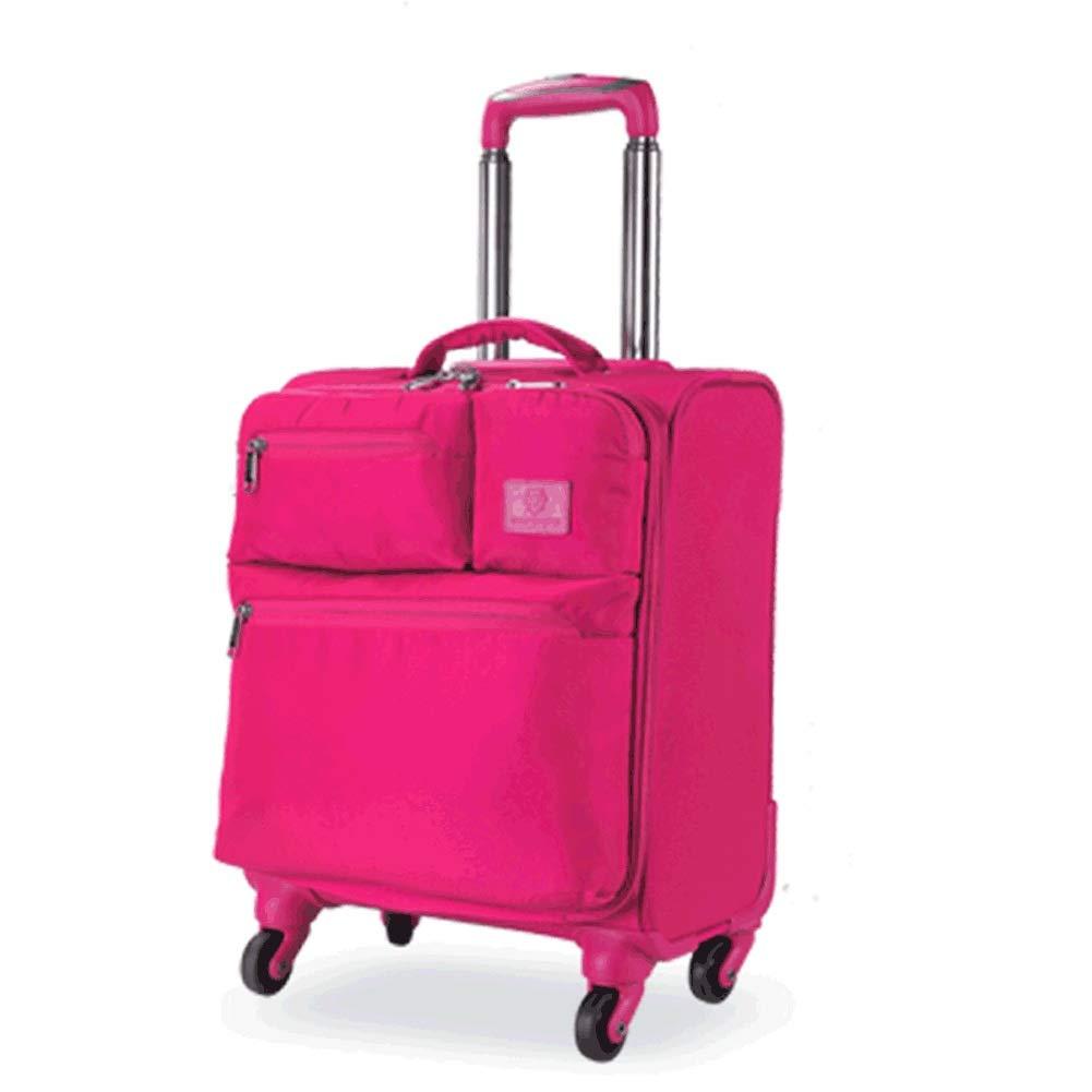 16 'オックスフォード布トロリーケース、シャーシに搭乗する男性または女性に適したスピナー荷物超軽量スーツケース (色 : ローズレッド, サイズ さいず : 16 inch) 16 inch ローズレッド B07R45L987