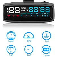 AOZBZ Car Head Up Display,OBDII Plug/Play Interface Multi-function Car HUD ( 2 Colours Display )