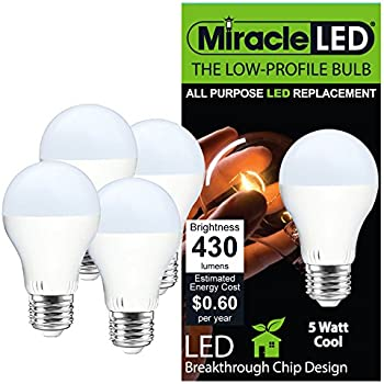 Miracle LED 604714 Low Profile General Purpose LED Bulb with Medium Base (Pack of 4  sc 1 st  Amazon.com & Miracle LED 605006 General Purpose Bulb Low Profile 430 Lumen ... azcodes.com
