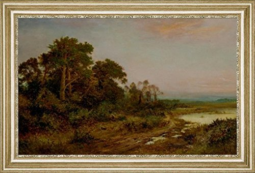 a-wooded-landscape-with-a-lake-by-daniel-sherrin-19-x-28-framed-premium-canvas-print