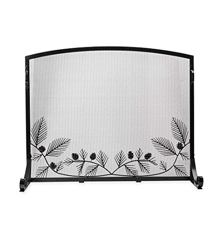 Pine Cone Flat Guard Fireplace Screen, Small - 38 L x 31 W x 12.75 H - (Flat Fireplace Guard)