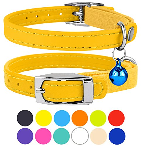 "CollarDirect Leather Cat Collar, Cat Safety Collar with Elastic Strap, Kitten Collar for Cat with Bell Black Blue Red Orange Lime Green (Neck Fit 9""-11"", Yellow)"