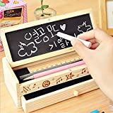 Daiweis Multi-function wooden pencil case ,Small Blackboard Pen Case (Including three chalk and one chalk rubbing)