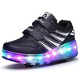 Boys Girls LED Flashing Single Double Wheels Roller Skating Shoes 7 Colors Light Up Luminous Roller Skates Sneakers Adjustable Rollerblades (13 UK Child, Black White Double Wheels 02)