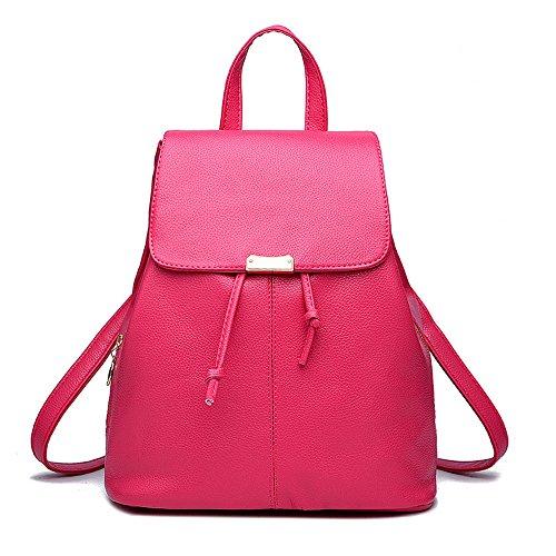 Wewod Mujeres Bolso de Escuela Mochila de a Diario de Moda Mochila para Viaje Deporte Shopper 28 x 33 x 14 cm (L X H x W ) Rose Red