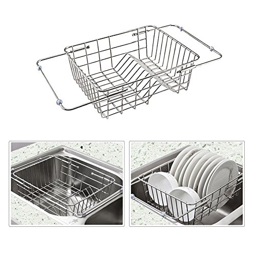 Dish Drainer Over Sink Stainless Steel Dish Drying Rack Kitc