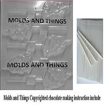 Moldes y cosas unicornio caracol Chocolate Candy Mold instrucciones© con moldeado + 50 palos: Amazon.es: Hogar