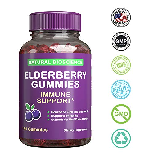 Sambucus Elderberry Gummies Family Size, 180 Gummies, for Children & Adults, with Vitamin C, Zinc & Black Elderberry Extract, Natural Herbal Supplement with Plant Pectin, Immune Support, Great Taste by Natural BioScience (Image #5)