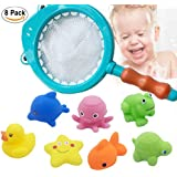 Ooopsi 1 Squirtin 8 Pack Water Toys with Fishing Net-Little Animals Floating Bath Squirts for Kids, Babies and Todd