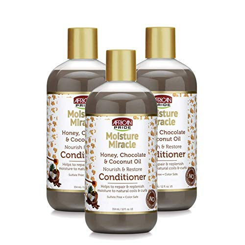 (African Pride Moisture Miracle Honey, Chocolate & Coconut Oil Conditioner (3 Pack) - Helps Repair & Replenish Moisture to Natural Coils & Curls, Nourishes & Restores, Sulfate Free, Color Safe, 12 oz)