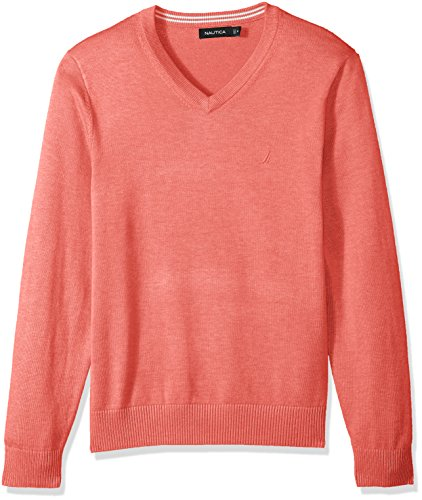- Nautica Men's Long Sleeve Solid Classic V-Neck Sweater, Washed Red Heather, Large